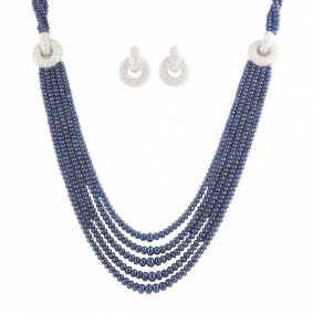 Diamond and Sapphire Bead Jewellery Suite